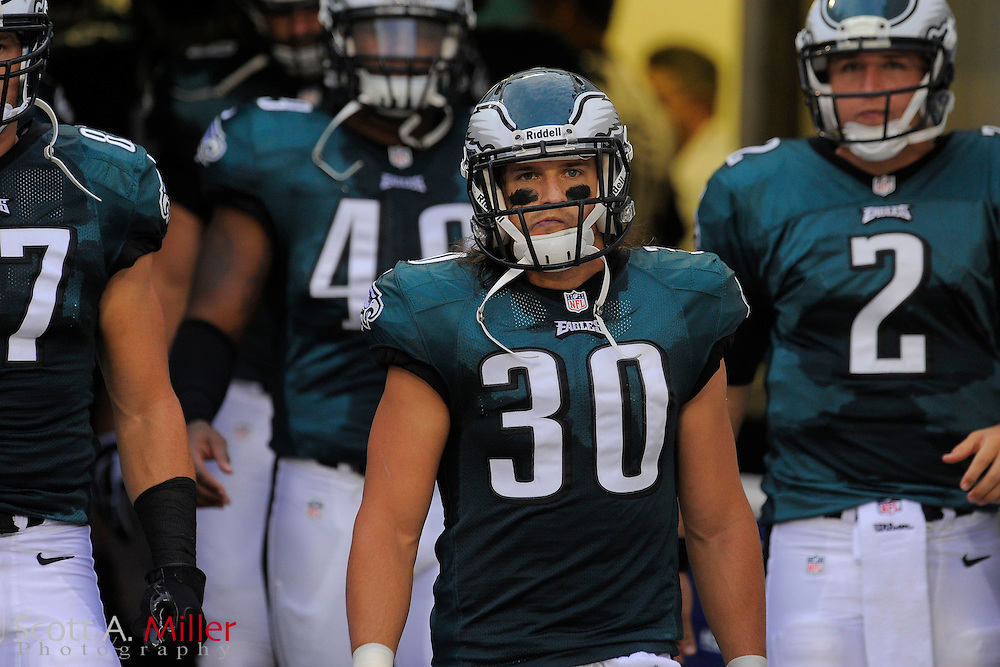 Philadelphia Eagles free safety Colt Anderson (30) during player introductions prior to a preseason NFL game against the Jacksonville Jaguars at EverBank Field on Aug. 24, 2013 in Jacksonville, Florida. The Eagles won 31-24.<br /> <br /> &copy;2013 Scott A. Miller