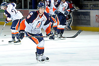 KELOWNA, CANADA, OCTOBER 29: Chase Schaber #10 of the Kamloops Blazers warms up as the Kamloops Blazers visit the Kelowna Rockets  on October 29, 2011 at Prospera Place in Kelowna, British Columbia, Canada (Photo by Marissa Baecker/Shoot the Breeze) *** Local Caption *** Chase Schaber;