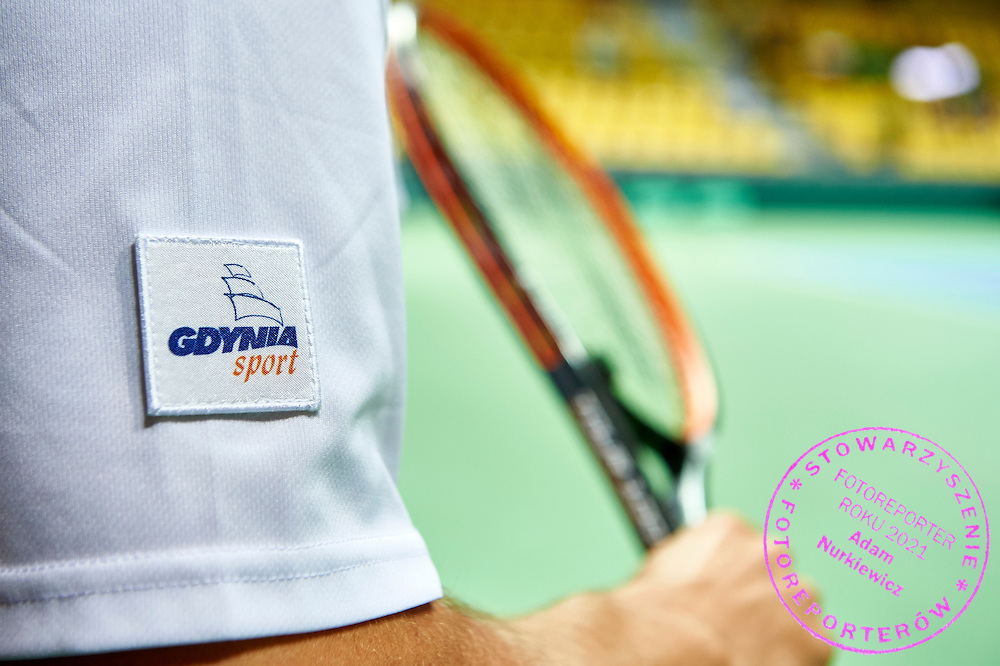 Gdynia sign on tennis player's arm during Davis Cup Tie World Group Play-off Poland v Slovakia at Gdynia Arena Hall in Gdynia, Poland.<br /> <br /> Poland, Gdynia, September 18, 2015<br /> <br /> Picture also available in RAW (NEF) or TIFF format on special request.<br /> <br /> For editorial use only. Any commercial or promotional use requires permission.<br /> <br /> Adam Nurkiewicz declares that he has no rights to the image of people at the photographs of his authorship.<br /> <br /> Mandatory credit:<br /> Photo by &copy; Adam Nurkiewicz / Mediasport