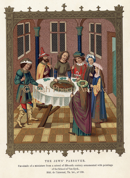 Jewish family observing Passover. After miniature from 15th century missal.