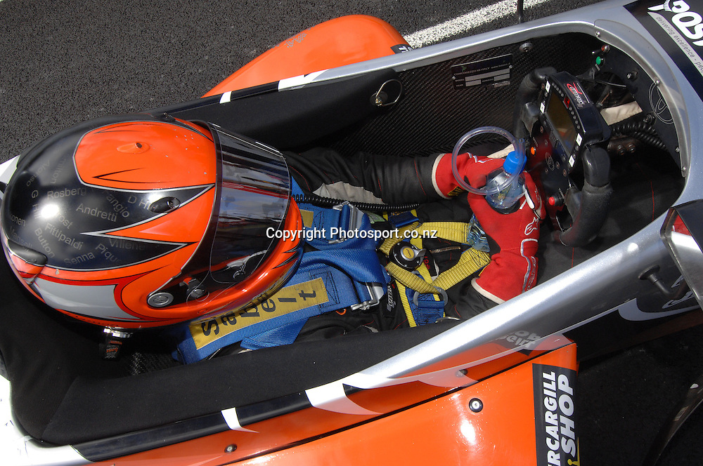 Damon Leitch from Invercargill strapped in his Toyota FT40, awaiting the start of the Grand Prix.