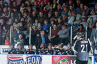 KELOWNA, CANADA - JANUARY 4: Don Hay, coach of the Vancouver Giants stands on the bench against the Kelowna Rockets on January 4, 2014 at Prospera Place in Kelowna, British Columbia, Canada.   (Photo by Marissa Baecker/Shoot the Breeze)  ***  Local Caption  ***