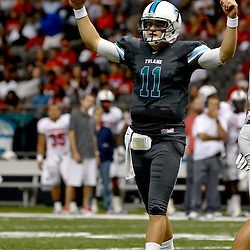 Sep 7, 2013; New Orleans, LA, USA; Tulane Green Wave quarterback Nick Montana (11) celebrates after touchdown against the South Alabama Jaguars at the Mercedes-Benz Superdome. Mandatory Credit: Derick E. Hingle-USA TODAY Sports