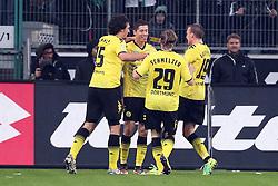 03.12.2011, BorussiaPark, Mönchengladbach, GER, 1.FBL, Borussia Mönchengladbach vs Borussia Dortmund, im BildTorjubel/ Jubel nach 0:1 durch Robert Lewandowski (Dortmund #9) (M) mit Mats Hummels (Dortmund #15) (L) und Marcel Schmelzer (Dortmund #29) sowie Kevin Großkreutz (Dortmund #19) // during the 1.FBL, Borussia Mönchengladbach vs Borussia Dortmund on 2011/12/03, BorussiaPark, Mönchengladbach, Germany. EXPA Pictures © 2011, PhotoCredit: EXPA/ nph/ Mueller..***** ATTENTION - OUT OF GER, CRO *****