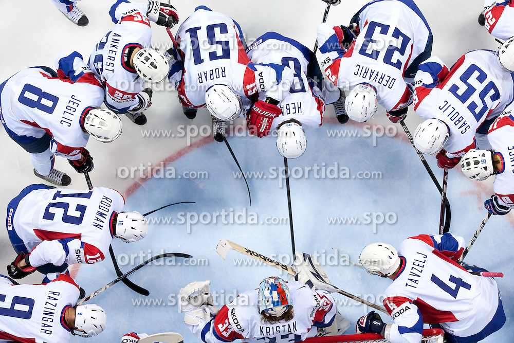 Players of Slovenia during ice-hockey match between Austria and Slovenia of Group G in Relegation Round of IIHF 2011 World Championship Slovakia, on May 7, 2011 in Orange Arena, Bratislava, Slovakia. Austria defeated Slovenia 3-2. (Photo By Vid Ponikvar / Sportida.com)