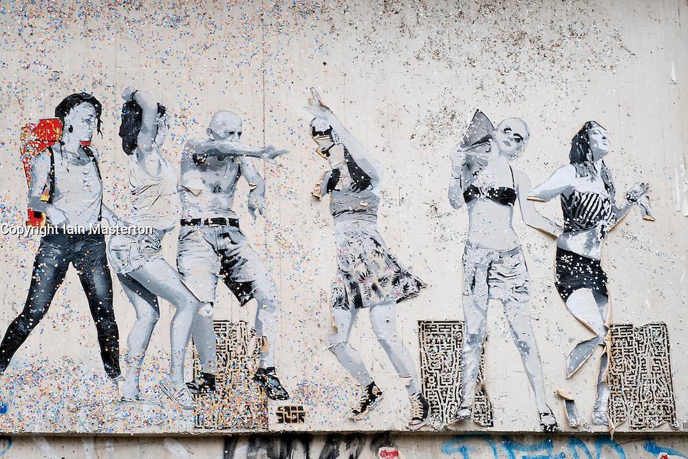 Street art on wall in Mitte district in Berlin Germany