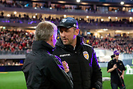 PERTH, AUSTRALIA - JULY 13: Manchester United coach Ole Gunnar Solskjaer  and Perth Glory coach Tony Popovic shake hands during the International soccer match between Manchester United and Perth Glory on July 13, 2019 at Optus Stadium in Perth, Australia. (Photo by Speed Media/Icon Sportswire)