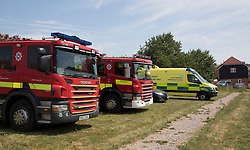 © Licensed to London News Pictures. 06/07/2018. Amesbury, UK. Fire brigade and ambulance vehicle arrive outside a property in Amesbury after a couple, named locally as Dawn Sturgess, 44, and her partner Charlie Rowley, 45, were taken ill on Saturday 30th June 2018. Police have confirmed that the couple have been in contact with Novichok nerve agent. Former Russian spy Sergei Skripal and his daughter Yulia were poisoned with Novichok nerve agent in nearby Salisbury in March 2018. Photo credit: Peter Macdiarmid/LNP