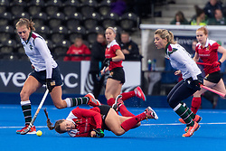 Holcombe's Eleanor Watton goes down after making a tackle. Holcombe v Surbiton - Investec Women's Hockey League Final, Lee Valley Hockey & Tennis Centre, London, UK on 29 April 2018. Photo: Simon Parker