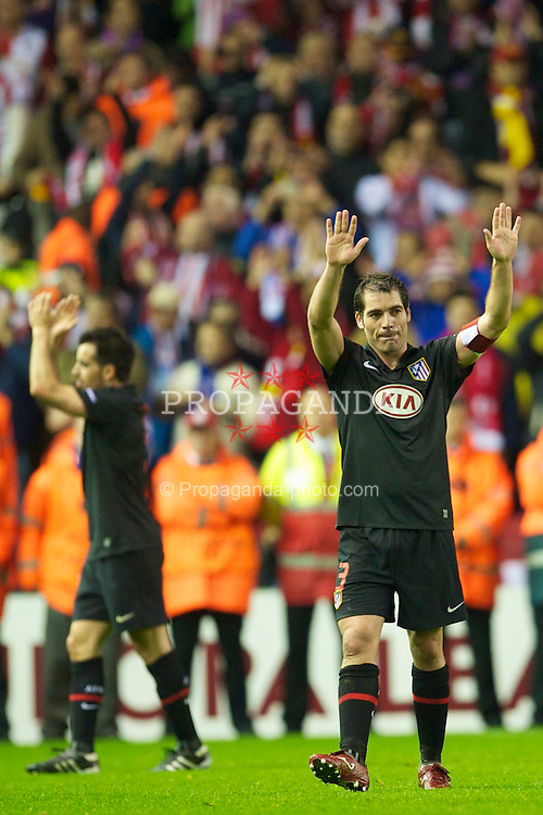 LIVERPOOL, ENGLAND - Thursday, April 29, 2010: Club Atletico de Madrid's players celebrate after knocking Liverpool out during the UEFA Europa League Semi-Final 2nd Leg match at Anfield. (Photo by: David Rawcliffe/Propaganda)