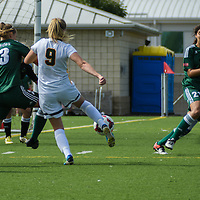 3rd year midfielder Nikita Senko (9) of the Regina Cougars  takes a shot on goal during the Women's Soccer Homeopener on September 10 at U of R Field. Credit: Arthur Ward/Arthur Images