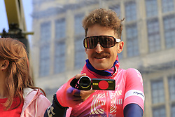 Who's recording who! Taylor Phinney (USA) EF Education First at the team presentation in Antwerp before the start of the 2019 Ronde Van Vlaanderen 270km from Antwerp to Oudenaarde, Belgium. 7th April 2019.<br /> Picture: Eoin Clarke | Cyclefile<br /> <br /> All photos usage must carry mandatory copyright credit (© Cyclefile | Eoin Clarke)