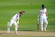 Azeem Rafiq of Yorkshire bowling during the Specsavers County Champ Div 1 match between Hampshire County Cricket Club and Yorkshire County Cricket Club at the Ageas Bowl, Southampton, United Kingdom on 1 September 2016. Photo by Graham Hunt.