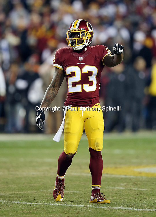 Washington Redskins cornerback DeAngelo Hall (23) points during the 2015 week 13 regular season NFL football game against the Dallas Cowboys on Monday, Dec. 7, 2015 in Landover, Md. The Cowboys won the game 19-16. (©Paul Anthony Spinelli)