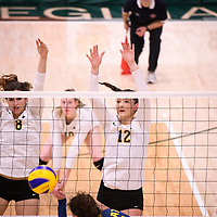1st year outside hitter Jessica Lerminiaux (12) of the Regina Cougars in action during Women's Volleyball home game on November 17 at Centre for Kinesiology, Health and Sport. Credit: Arthur Ward/Arthur Images