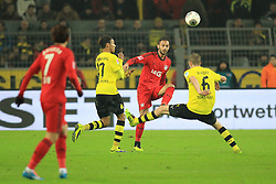 07.12.2013, Signal Iduna Park, Dortmund, GER, 1. FBL, Borussia Dortmund vs Bayer 04 Leverkusen, 15. Runde, im Bild Sven Bender #6 (Borussia Dortmund), Pierre-Emerick Aubameyang #17 (Borussia Dortmund) im Zweikampf gegen Oemer Toprak #21 (Bayer 04 Leverkusen), Aktion, Action // during the German Bundesliga 15th round match between Borussia Dortmund and Bayer 04 Leverkusen at the Signal Iduna Park in Dortmund, Germany on 2013/12/08. EXPA Pictures © 2013, PhotoCredit: EXPA/ Eibner-Pressefoto/ Schueler<br /> <br /> *****ATTENTION - OUT of GER*****