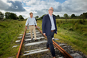 Mayo County Councillor Gerry Murray and Peter Bowen-Walsh, members of West on Track, on part of the old rail line, near Coolaney, Co. Sligo, who want to reopen the Western Rail Corridor, a passenger and freight railway line which runs from Sligo to Limerick. <br /> Photo: James Connolly<br /> 18AUG17