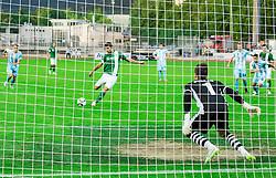 Rok Kronaveter #7 of Olimpija at penalty shot vs Grega Sorcan #1 of Gorica during football match between ND Gorica and NK Olimpija Ljubljana in Round #10 of Prva liga Telekom Slovenije 2015/16, on September 19, 2015, in Sports park Gorica, Nova Gorica, Slovenia. Photo by Vid Ponikvar / Sportida