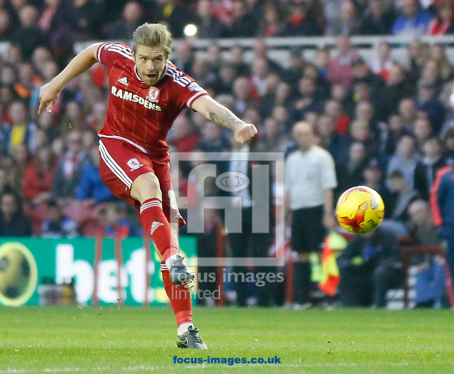 Adam Clayton of Middlesbrough shooting during the Sky Bet Championship match at the Riverside Stadium, Middlesbrough<br /> Picture by Simon Moore/Focus Images Ltd 07807 671782<br /> 31/10/2015