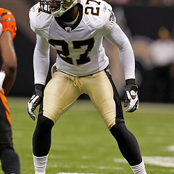 2009 August 14: New Orleans Saints cornerback Malcolm Jenkins (27) on the filed  during 17-7 win by the New Orleans Saints over the Cincinnati Bengals in their preseason opener at the Louisiana Superdome in New Orleans, Louisiana.