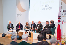 23.08.2015, Alpbach, AUT, Forum Alpbach 2015, Tiroltag, feierliche Eröffnung, im Bild v.l. Professor am Institut für Geschichte und Ethnologie an der Universität Innsbruck Gilles Reckinger, Director des italienisch-germanisch Historischen Institut Trento Paolo Pombeni, Professor der Soziologie an der Fakultät für Erziehungswissenschaft an der Freie Universität Bozen Susanne Ursula Elsen ), Rektor der Freien Universität Bozen Walter A. Lorenz, Forum-Alpbach-Präsident Franz Fischler, Tirols Landeshauptmann Günther Platter (ÖVP), Südtirols Landeshauptmann Arno Kompatscher (SVP), Infrastruktur und Umweltlandesrat der Autonomen Provinz Trient Mauro Gilmozzi // f.l.t.r. Gilles Reckinger (Professor Institute for History and Ethnology University of Innsbruck) Paolo Pombeni (Director Instituto Storico Italo-Germanico Fondazione Bruno Kessler Trento) Susanne Ursula Elsen (Professor Sociology Faculty of Education Free University of Bolzano) Walter A. Lorenz (Rector Free University of Bozen/Bolzano Coordinator EuregioLab 2015) Franz Fischler (President European Forum Alpbach) Günther Platter (Governor of the Province of Tyrol) Arno Kompatscher (Governor of the Autonomous Province of Bolzano) Mauro Gilmozzi (Member of the Provincial Government Responsible for Infrastructure and Environment Autonomous Province of Trento) during the opening Ceremony of 2015 European Forum Alpbach in Alpbach, Austria on 2015/08/23. EXPA Pictures © 2015, PhotoCredit: EXPA/ Johann Groder