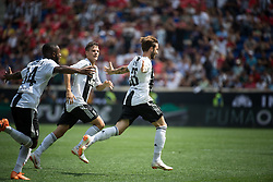 July 28, 2018 - Harrison, New Jersey, United States - Juventus forward LUCA CLEMENZA (38) celebrates with Juventus player LEANDRO FERNANDES (34)  during the International Champions Cup at Red Bull Arena in Harrison, NJ.  Juventes defeats SL Benfica 1-1  (Credit Image: © Mark Smith via ZUMA Wire)