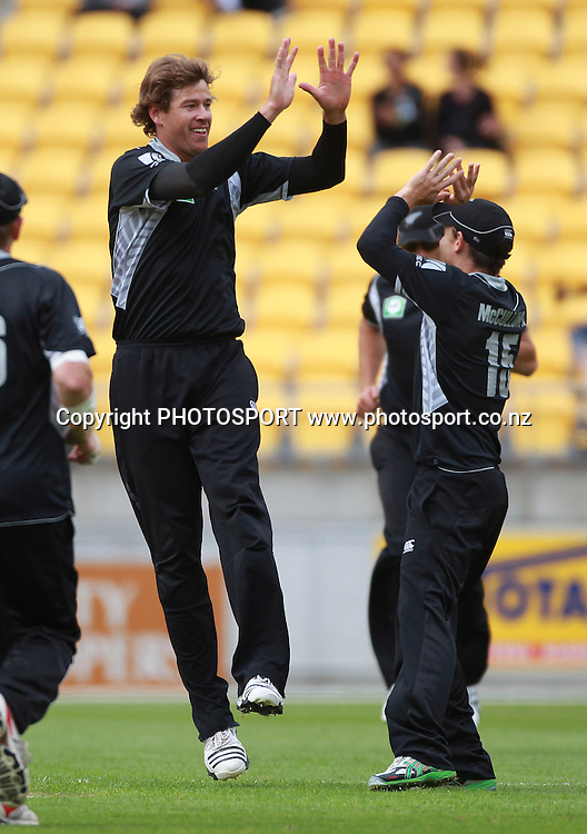 Jacob Oram celebrates. New Zealand Black Caps v Pakistan, ODI Cricket. Match 1, Westpac Stadium, Wellington, New Zealand. Saturday 22 January 2011. Photo: Andrew Cornaga/photosport.co.nz