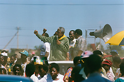 NELSON ROLIHLAHLA MANDELA (July 18, 1918 - December 5, 2013) world renowned civil rights activist and world leader dies at 95. Mandela emerged from prison to become the first black President of South Africa in 1994. As a symbol of peacemaking, he won the 1993 Nobel Peace Prize. Joined his countries anti-apartheid movement in his 20s and then the ANC (African National Congress) in 1942. For next 20 years, he directed a campaign of peaceful, non-violent defiance against the South African government and its racist policies and for his efforts was incarcerated for 27 years. PICTURED: Apr 1, 1994 - South Africa - NELSON MANDELA campaigns for president. (Credit Image: © Aftonbladet/IBL/ZUMAPRESS.com)