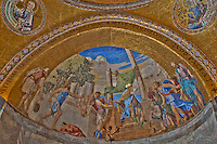 Detail of a golden mosaic alcove inside St. Mark's Basilica, Venice, Italy.