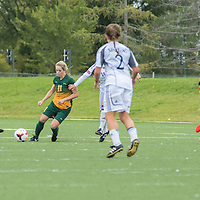 5th year midfielder Karlee Vorrieter (11) of the Regina Cougars makes a play during the Women's Soccer home game on September 11 at U of R Field. Credit: Arthur Ward/Arthur Images