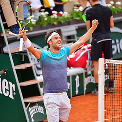Marco Cecchinato of Italy celebrates winning during Day 8 of the French Open 2018 on June 3, 2018 in Paris, France. (Photo by Dave Winter/Icon Sport)