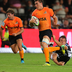 DURBAN, SOUTH AFRICA, 5, MARCH, 2016 -  Andre Esterhuizen of the Cell C Sharks has hold of Rodrigo Baez of the Jaguares during The Cell C Sharks vs Jaguares Super Rugby match at Growthpoint Kings Park in Durban, South Africa. (Photo by Anesh Debiky)