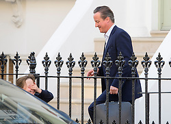 **NOTE TO EDITORS: The Camerons daughter Florence is pictured left covering her face** © Licensed to London News Pictures. 15/09/2016. London, UK. Former British Prime Minister DAVID CAMERON leaves his west London home with his daughter Florence,  just days after stepping down as a member of parliament.  Photo credit: Ben Cawthra/LNP
