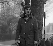 Austin Reed Fashion Shoot..1972..14.11.1972..11.14.1972..14th November 1972..To launch some of the new Austin Reed range of clothes a photo shoot was held at St Stephen's Green, Dublin...Picture shows the model wearing a dark green anorak with concealed zip under button front. The jacket also boasts a detachable padded hood. The jacket is fully washable and is priced at £17. A casual green check shirt in Swedish cotton at £6.50 and an Orlon crew neck sweater at £4.75 complete the outfit.