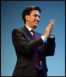 The Labour Leader Ed Miliband on stage listening to The Leader of the Scottish Labour Party Leader Johann Lamont on Day one of the Labour Party Conference at the Brighton Conference Centre, Brighton, United Kingdom. Sunday, 22nd September 2013. Picture by Andrew Parsons / i-Images