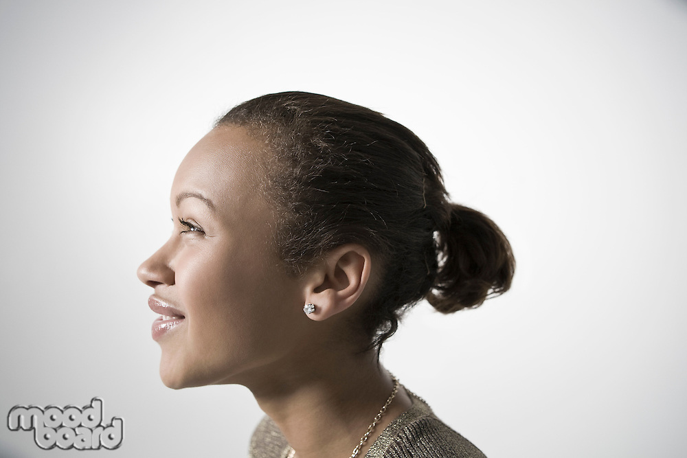 Young woman smiling profile close-up view