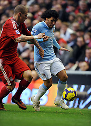 Carlos Tevez (Manchester City) during the Barclays Premier League match between Liverpool and Manchester City at Anfield - 21/11/09