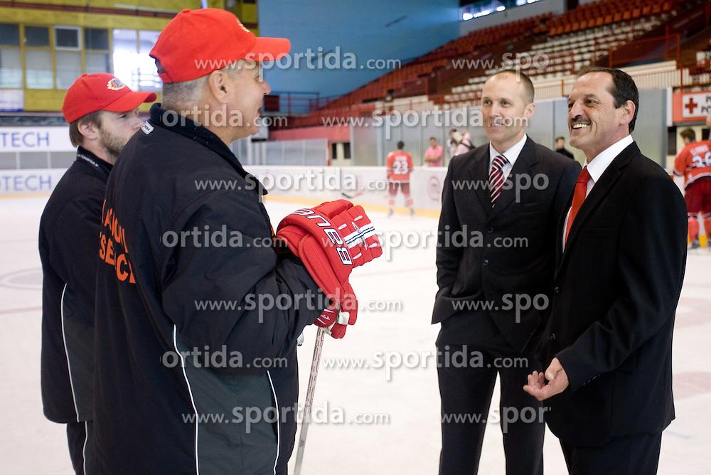 Dejan Varl, Ildar Rahmatullin, President Slavko Kanalec and Zvone Suvak at HK Acroni Jesenice Team roaster for 2009-2010 season,  on September 03, 2009, in Arena Podmezaklja, Jesenice, Slovenia.  (Photo by Vid Ponikvar / Sportida)