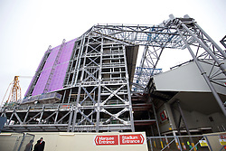 LIVERPOOL, ENGLAND - Sunday, January 17, 2016: Construction of the new Main Stand at Anfield before the Premier League match between Liverpool and Manchester United. (Pic by David Rawcliffe/Propaganda)