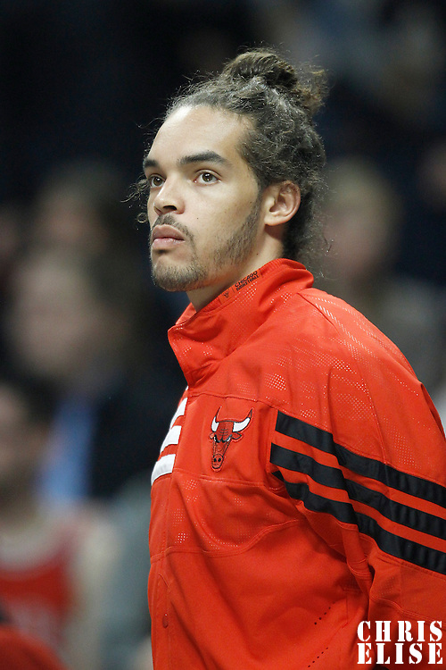 10 March 2012: Chicago Bulls center Joakim Noah (13) is seen during the Chicago Bulls 111-97 victory over the Utah Jazz at the United Center, Chicago, Illinois, USA.