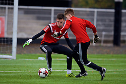 MERTHYR TYDFIL, WALES - Thursday, November 2, 2017: Wales' goalkeeper Lewis Dutton and goalkeeper Gethin Lloyd during an Under-18 Academy Representative Friendly match between Wales and Newport County at Penydarren Park. (Pic by David Rawcliffe/Propaganda)