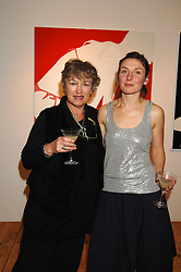 Left to right, MAGGIE LAW and her daughter artist NATASHA LAW at an exhibition of artist Natasha Law's work entitled 'Room' hosted by the Eleven gallery in association with Ruinart champagne at 121 Charing Cross Road, London WC2 on 16th January 2008.  Following the private view a dinner was held at Soho House hosted by Ruinart.<br />