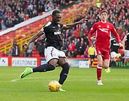 August 19th 2017, Pittodrie Stadium, Aberdeen, Scotland;  Scottish Premiership football, Aberdeen versus Dundee; Dundee's Roarie Deacon scores for 1-1