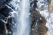 Ice-covered Bridalveil Falls in winter, Yosemite National Park, California USA
