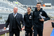 Newcastle United manager Rafael Benitez shares a joke with Ayoze Perez (#17) of Newcastle United and Joselu (#21) of Newcastle United as they arrive ahead of the Premier League match between Newcastle United and West Bromwich Albion at St. James's Park, Newcastle, England on 28 April 2018. Picture by Craig Doyle.