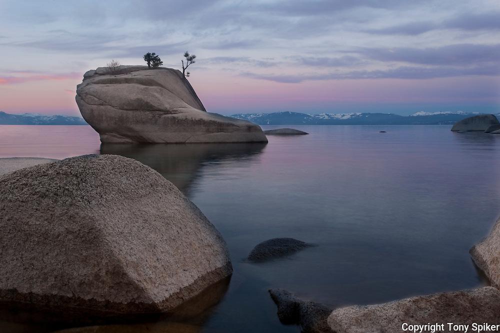 """""""Bonsai Rock Sunrise 8"""" - The sun rises over Bonsai Rock on the Eastern shore of Lake Tahoe"""