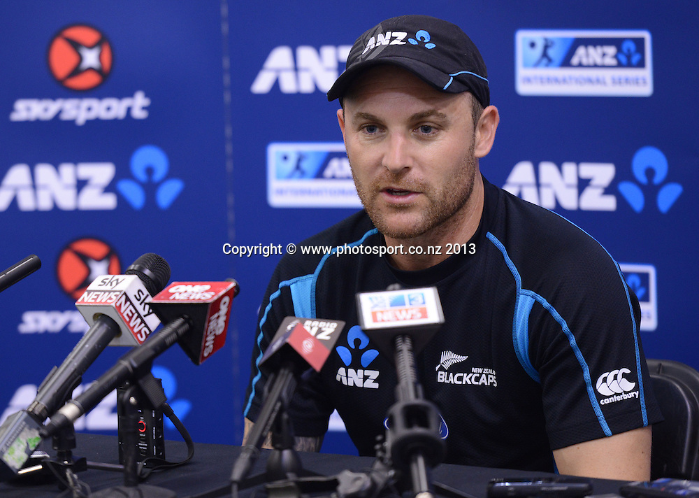 New Zealand Cricket captain Brendon McCullum during a press conference ahead of the 2nd test match against the West Indies starting at the Basin Reserve in Wellington tomorrow. Tuesday 10 December 2013. Photo: Andrew Cornaga / www.Photosport.co.nz