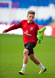 CARDIFF, WALES - Thursday, October 10, 2013: Wales' Harry Wilson during a training session at the Cardiff City Stadium ahead of the 2014 FIFA World Cup Brazil Qualifying Group A match against Macedonia. (Pic by David Rawcliffe/Propaganda)