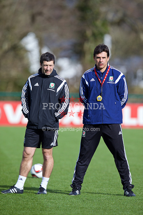 CARDIFF, WALES - Tuesday, March 24, 2015: Wales' manager Chris Coleman and head of fitness and science Ryland Morgans during a training session at the Vale of Glamorgan ahead of the UEFA Euro 2016 qualifying Group B match against Israel. (Pic by David Rawcliffe/Propaganda)