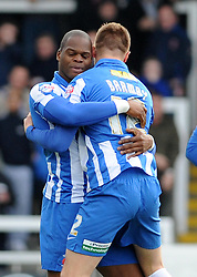 Hartlepool United's Marlon Harewood celebrates his goal with Hartlepool United's Jack Barmby - Photo mandatory by-line: Dougie Allward/JMP - Mobile: 07966 386802 15/03/2014 - SPORT - FOOTBALL - Hartlepool - Victoria Park - Hartlepool United v Bristol Rovers - Sky Bet League Two